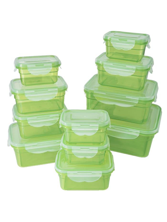 HELU Set van 11 vershouddoosjes, groen