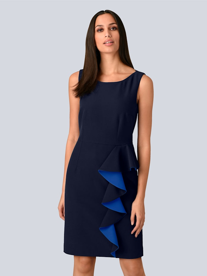 Alba Moda Kleid mit femininen Volants in Kontrastfarbe, Marineblau/Royalblau