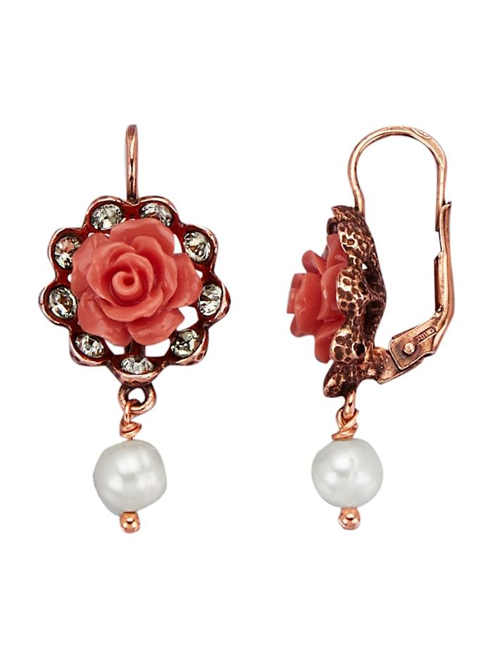 Boucles d'oreilles avec perles de culture d'eau douce, Rose