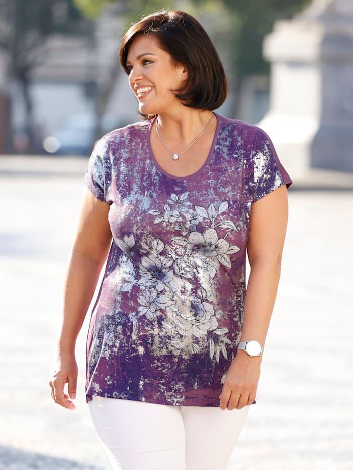 m. collection Shirt mit platziertem floralem Druckdesign vorne, Rosenholz