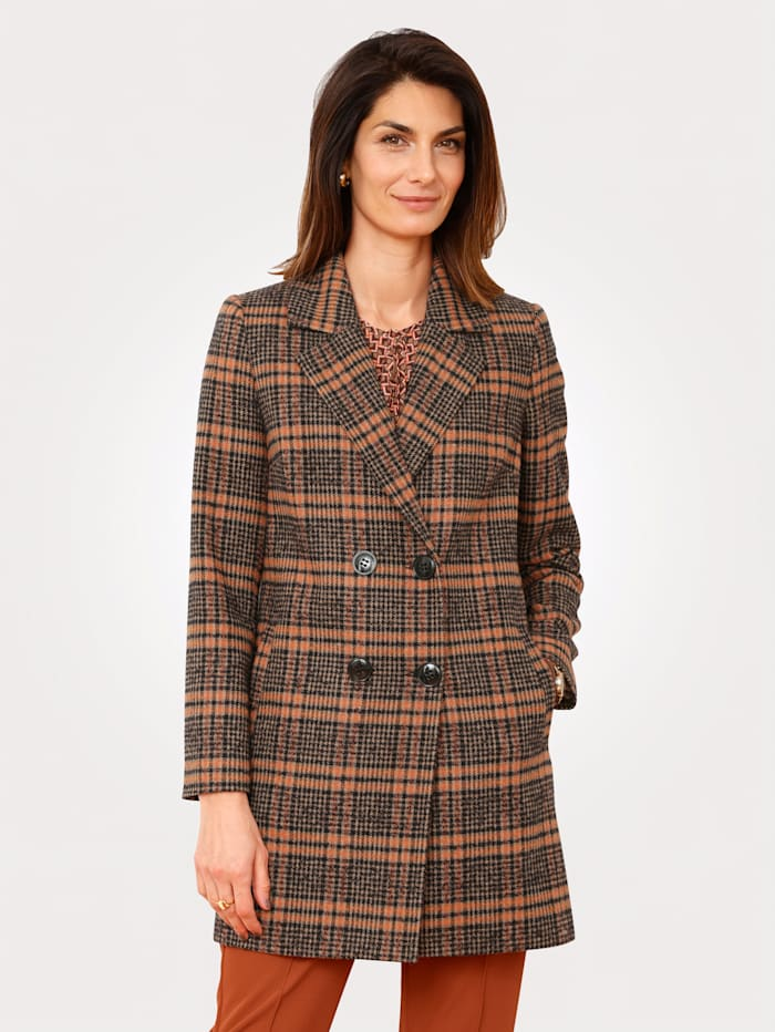 MONA Jacket in a check print, Terracotta/Brown