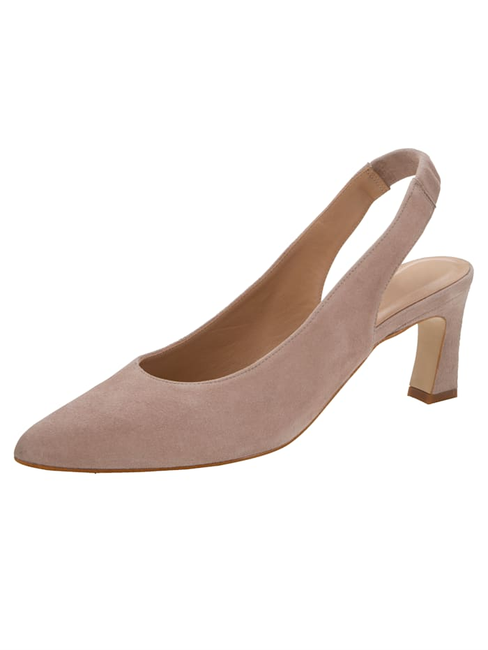 Gennia Slingback shoes in premium suede leather, Sand