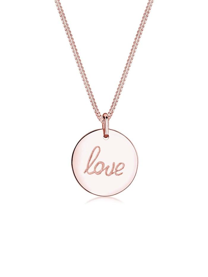 Elli Halskette Love Schriftzug Wording Trend 925 Sterling Silber, Rosegold