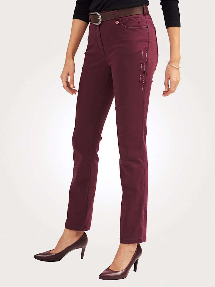Relaxed by Toni Trousers with decorative details, Bordeaux