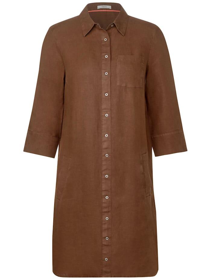Cecil Kurzes Polo-Kleid aus Leinen, caramel brown