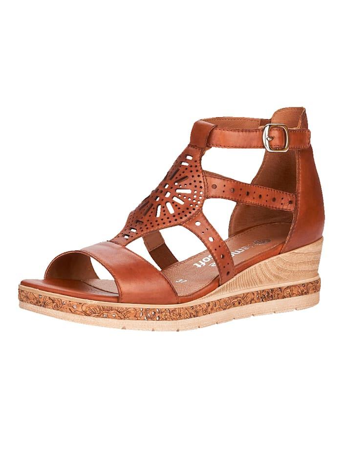 Remonte Sandaaltje met zacht gepolsterd leren voetbed, Donkerbruin
