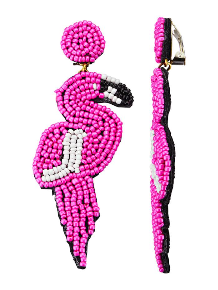 KLiNGEL Ohrclips mit pinkfarbenen Glasperlen, Pink