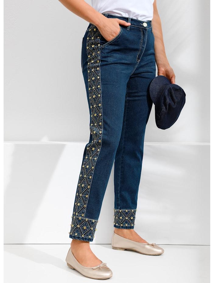 MIAMODA Jeans mit aufwändigen Perlenstickereien, Blue stone