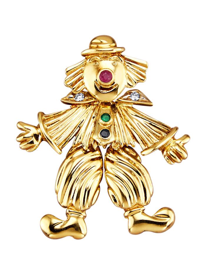 Amara Pierres colorées Pendentif clown à pierres de couleur et diamants, Multicolore