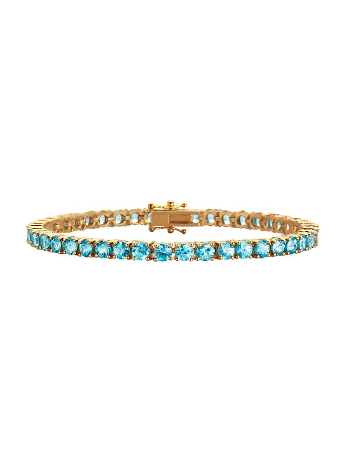 Diemer Farbstein Armband mit Zirkonen, Blau