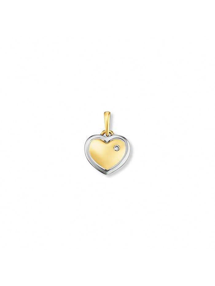 One Element Damen Schmuck Herz Anhänger aus 585 Gelbgold mit 0,01 ct Diamant, gold