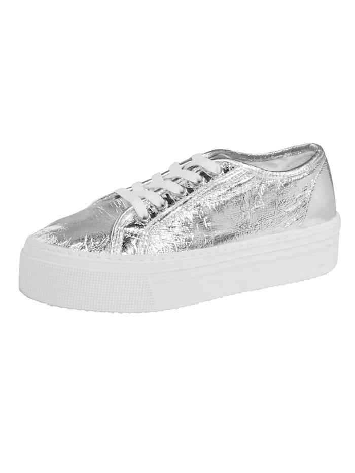 Sneakers i strukturmateriale med glans, Sølvfarger