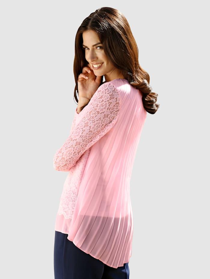Shirt met plisséinzet van chiffon achter