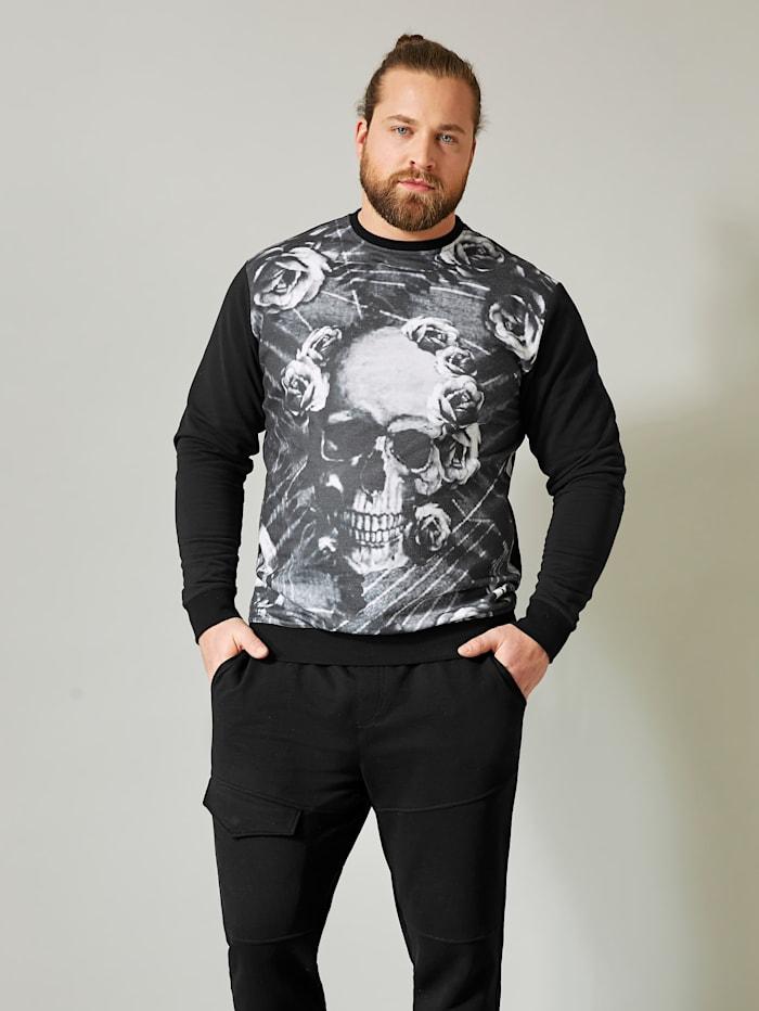 Men Plus Sweatshirt, Schwarz/Weiß