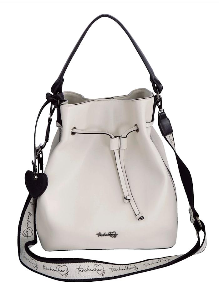 Taschenherz Beuteltasche mit einem abnehmbaren Taschenherz-Anhänger, Weiß