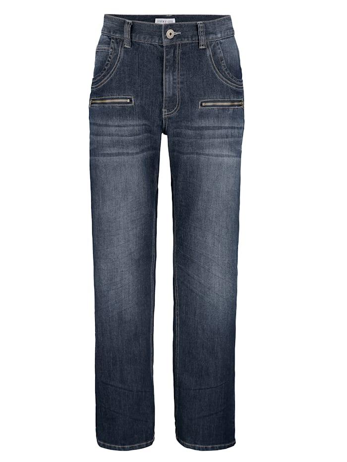 John F. Gee Jeanshose mit zusätzlichen Reißverschluss-Taschen, Dark blue