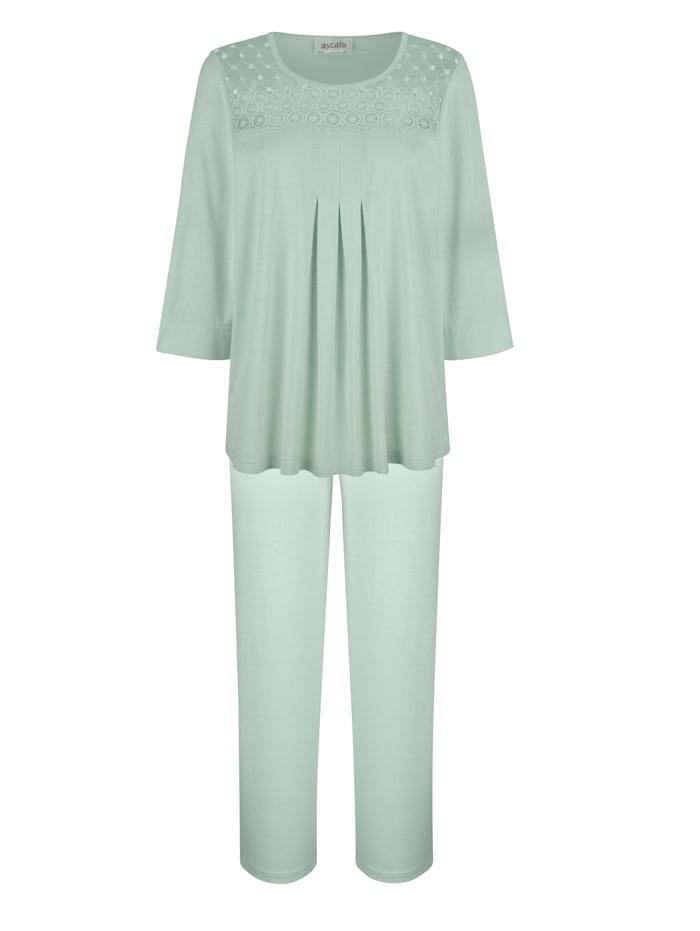 MONA Schlafanzug Mit weich fließenden Falten im Vorderteil, Lindgrün