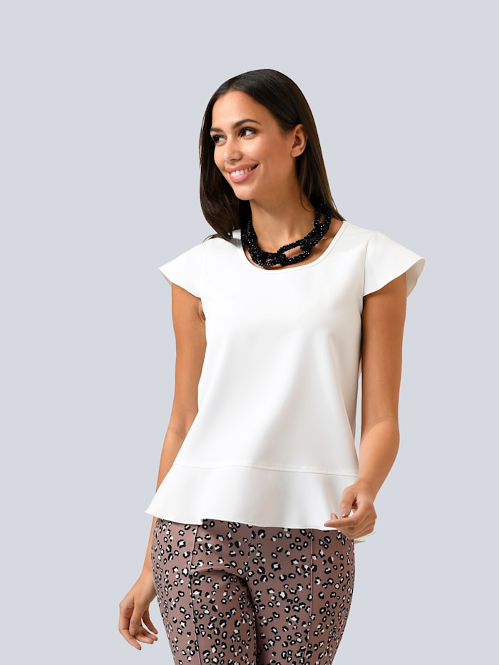 Alba Moda Shirt mit Capsleeve, Off-white