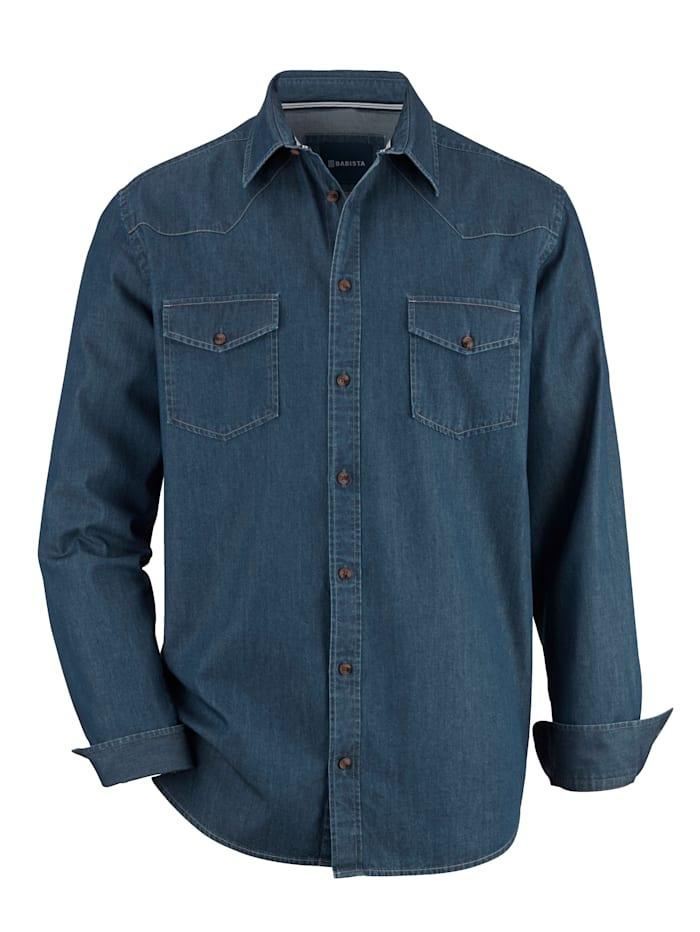 BABISTA Jeansoverhemd met 2 klepzakken, Donkerblauw