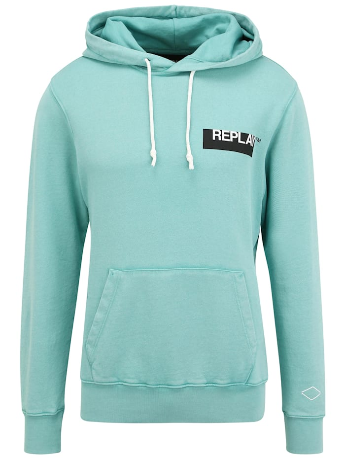 REPLAY Hoodie mit Label-Print, green water