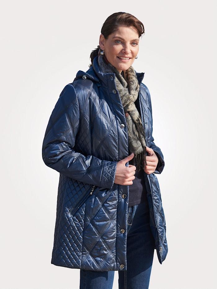 MONA Gewatteerde jas met afritsbare capuchon, Blauw