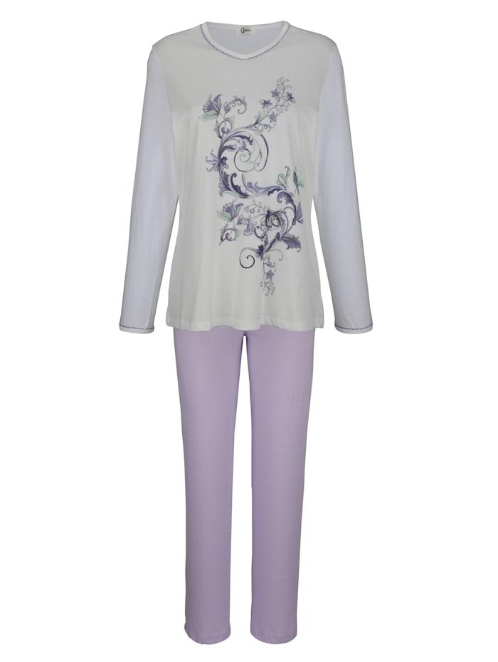 MONA Pyjama met fraai gekarteld randje aan de hals en mouwzoom, Ecru/Lila/Lichtgrijs