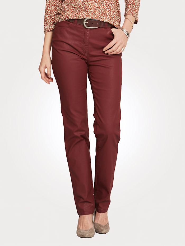 Toni Pantalon 5 poches en cuir synthétique, Rouille