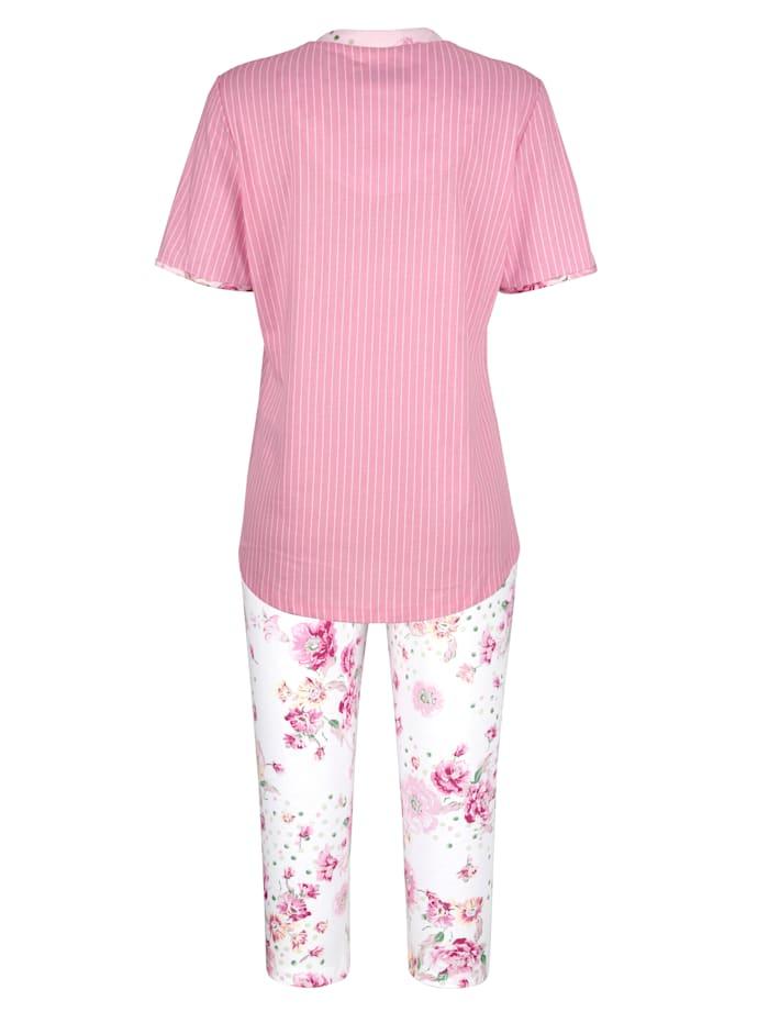 Pyjama met gebloemde details aan hals en mouwzomen