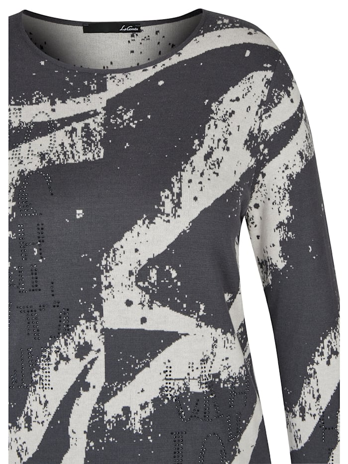 Pullover mit abstraktem Allover-Muster und Glitzersteinen