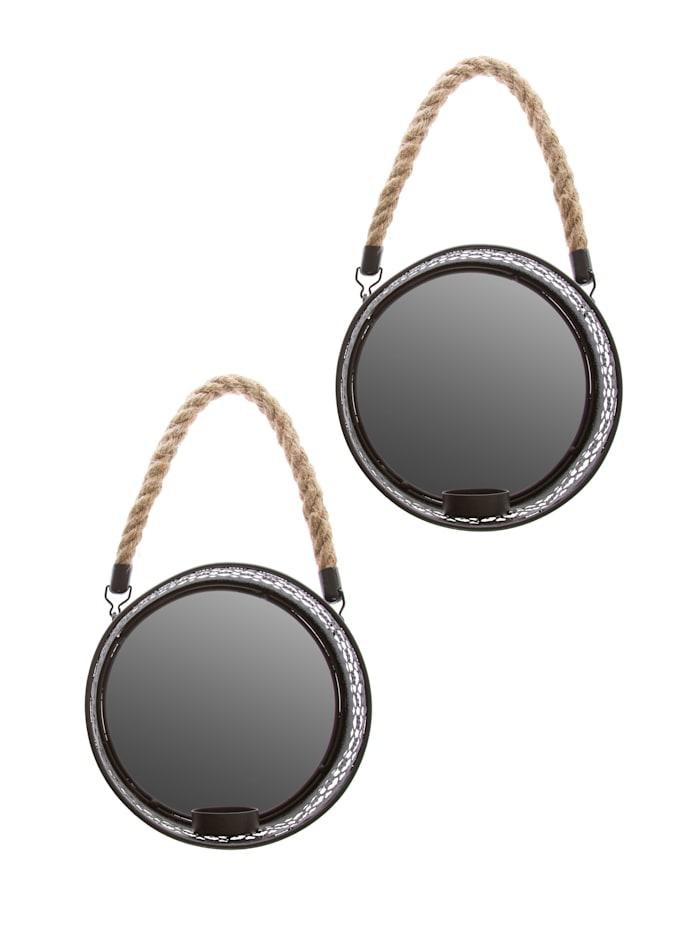 Spiegelkerzenhalter-Set, 2tlg., schwarz