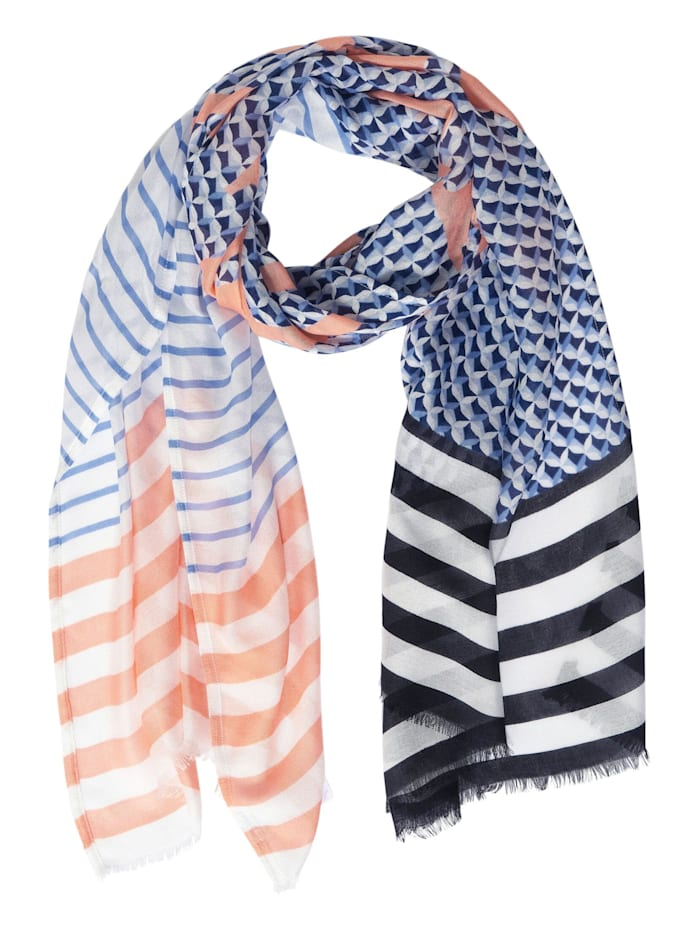Street One Langer Schal mit Kickfarben, warm blue
