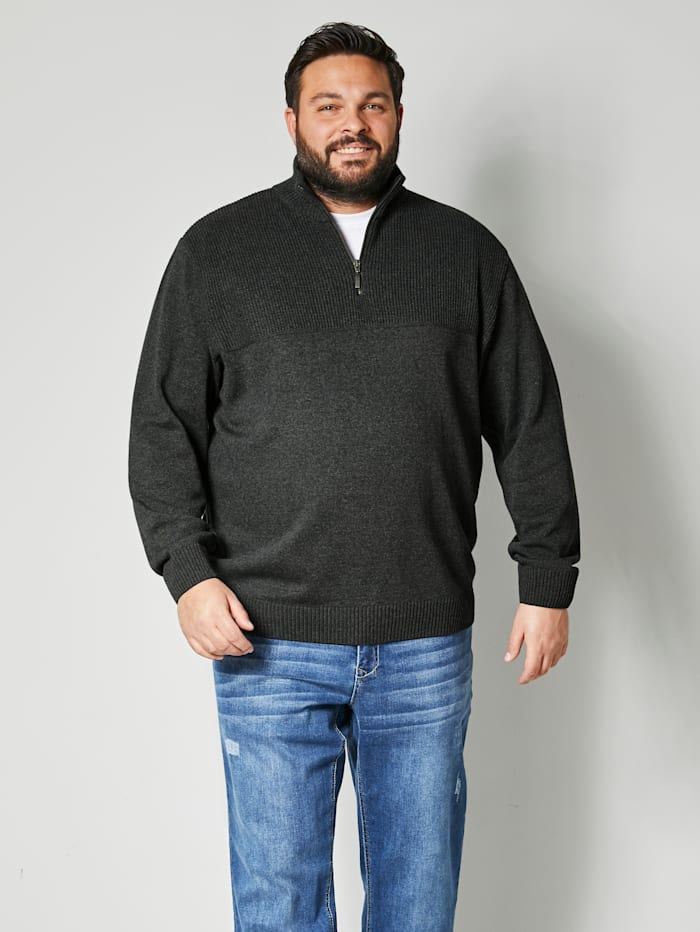 Men Plus Pullover Spezialschnitt, Anthrazit