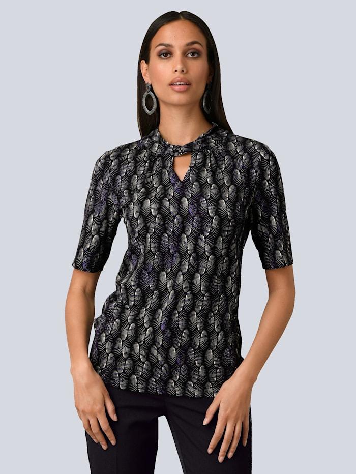 Alba Moda Shirt in exklusivem Alba Moda Print allover, Schwarz/Lila