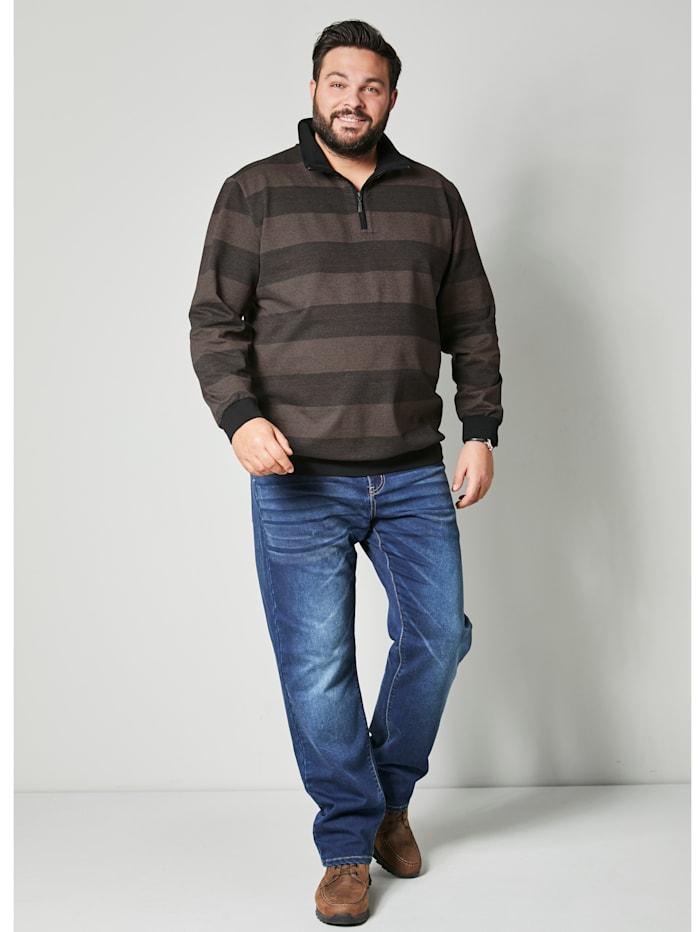 Men Plus Sweatshirt Spezialschnitt, Schwarz/Dunkelbraun