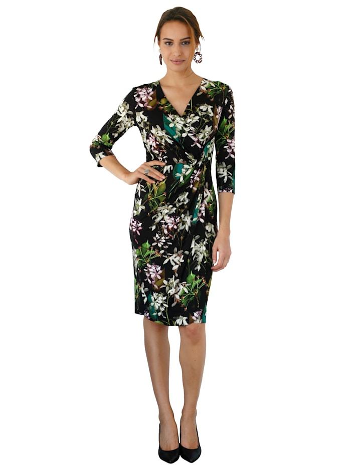 Jerseykleid in Wickeloptik mit floralem Druck
