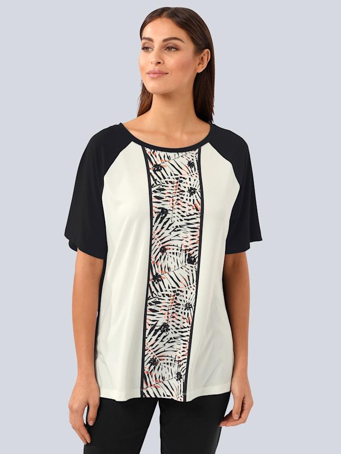 Alba Moda Shirt im Alba Moda exklusivem Dessin, Schwarz/Weiß/Orange