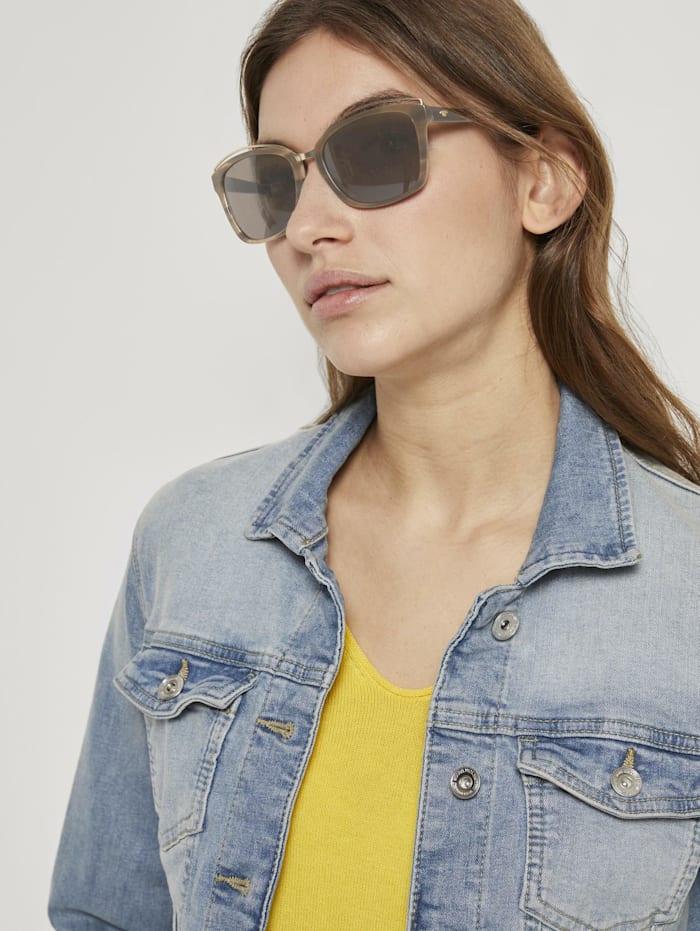 Tom Tailor Wayfarer Sonnebrille mit breitem Rahmen, brown structure-gold