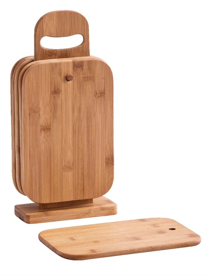 Zeller 6 små bambuskärbrädor inkl. ställning, Brun