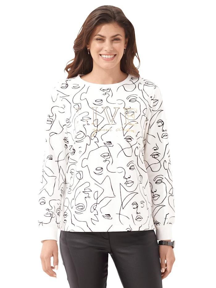 AMY VERMONT Sweatshirt mit grafischem Muster, Off-white/Schwarz