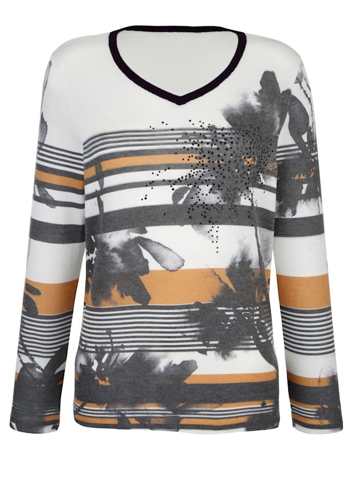 AMY VERMONT Pullover mit dekorativem Mustermix, Weiß/Schwarz/Ockergelb