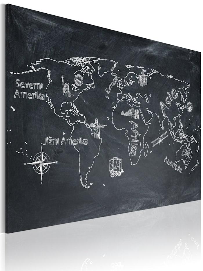 artgeist Wandbild Erdkundeunterricht (in tschechischer Sprache), Weiß,Grau