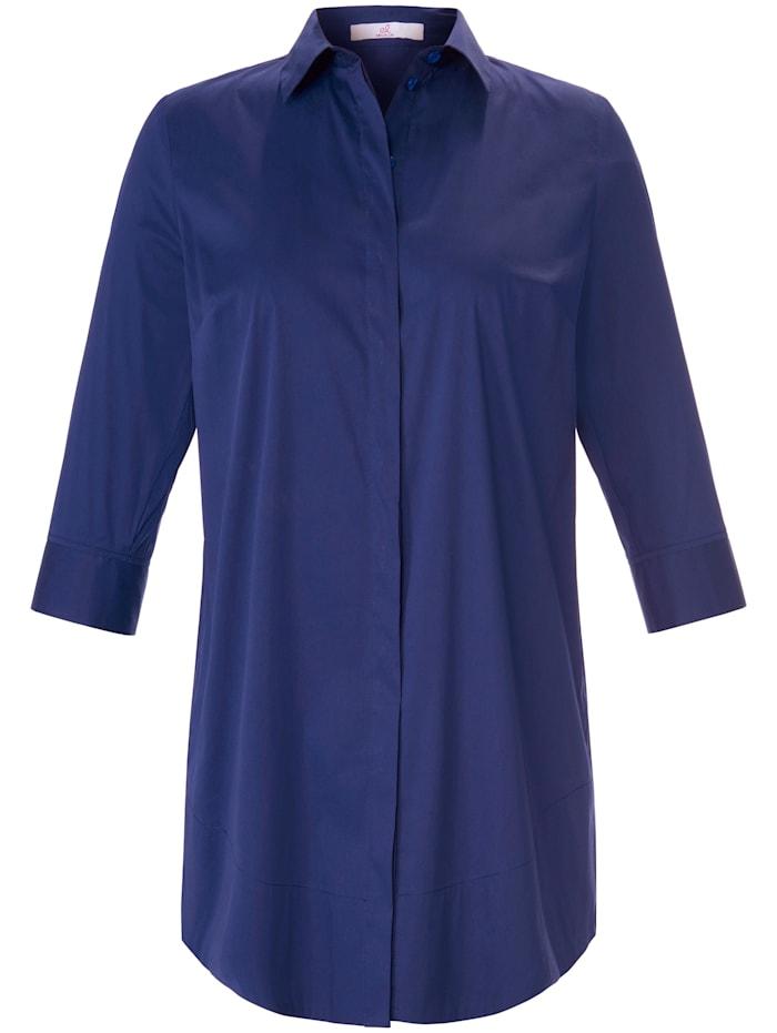Emilia Lay Kurzarmbluse cotton, blau