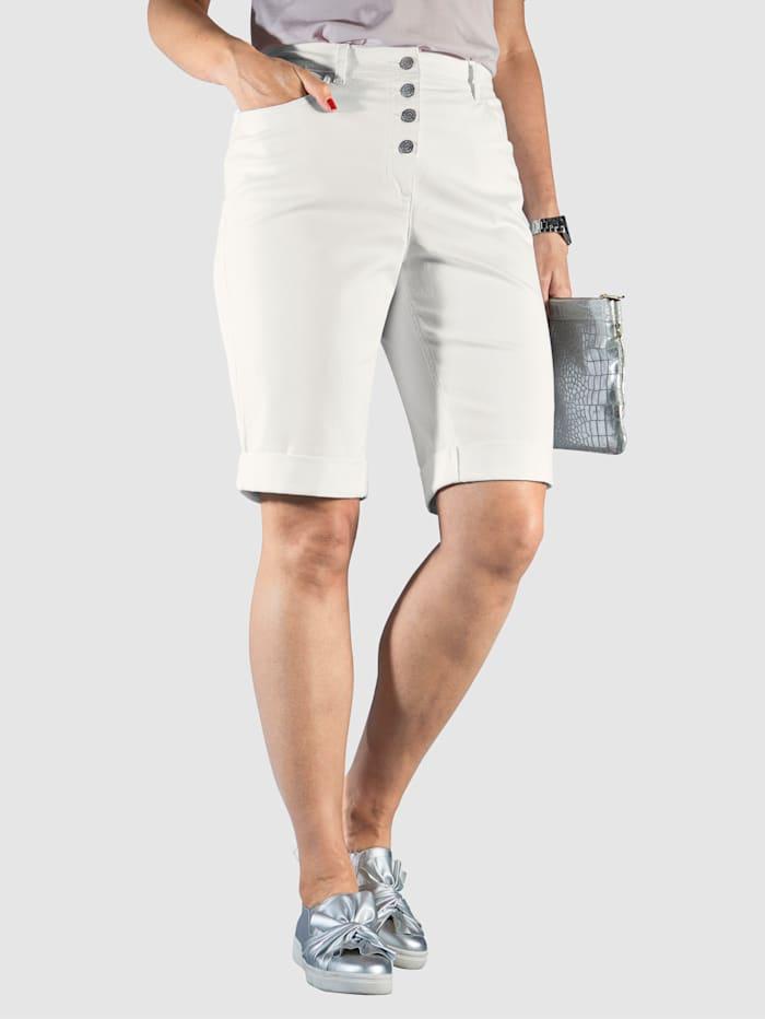 MIAMODA Shorts med fast oppbrett, Offwhite