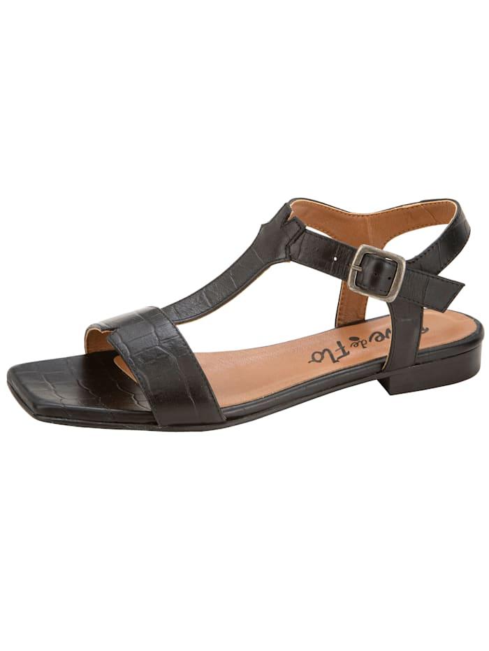 Sandale in wunderschöner Kroko-Optik, Schwarz
