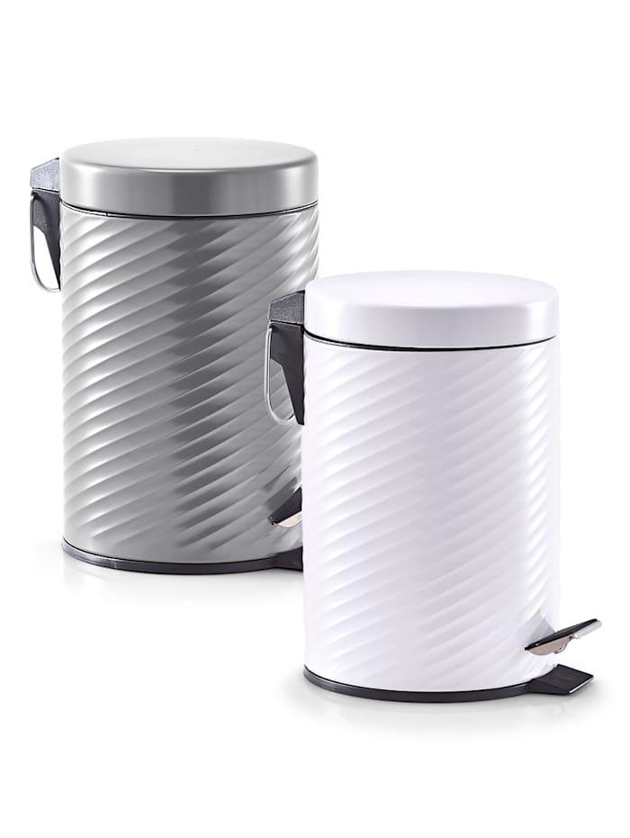 Treteimer, 3 Liter, Metall weiß
