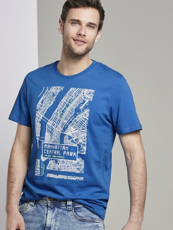 Tom Tailor T-Shirt mit NYC-Print, Electric Teal Blue