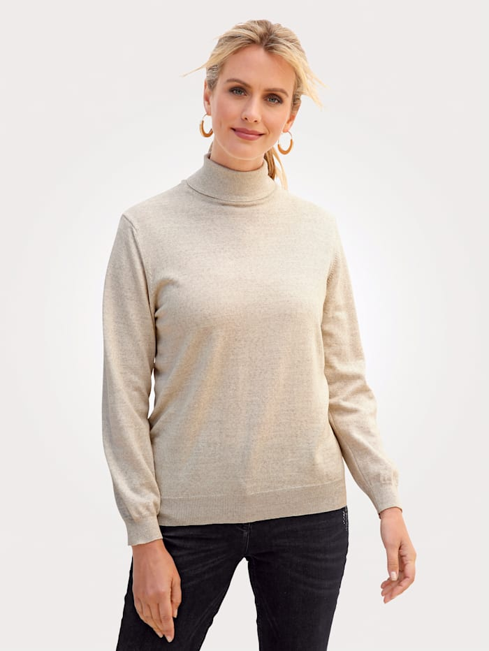 MONA Polo neck jumper made from a Merino wool blend, Ivory