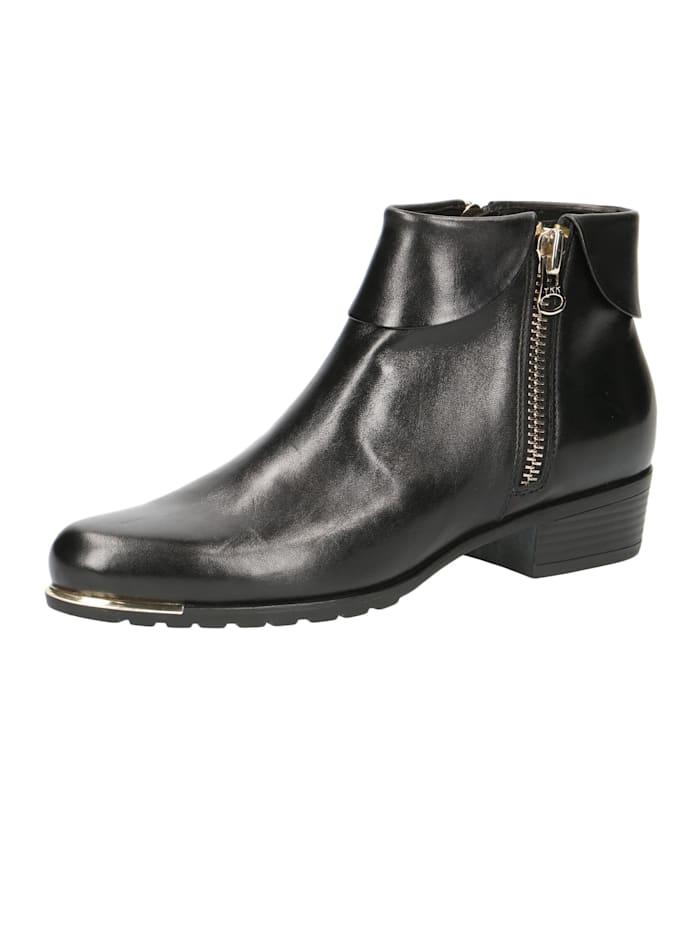 Caprice Damen Leder Siefelette Ankle Boot 9-25310-23 022 Black Nappa Schwarz, Black Nappa