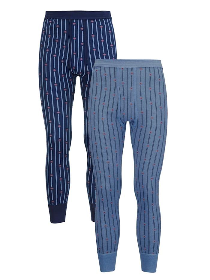 Lange Unterhosen im 2er-Pack, Blau