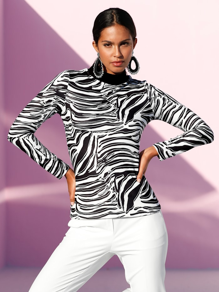 AMY VERMONT Shirt in Ripp-Optik, Schwarz/Off-white